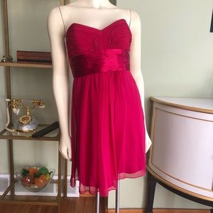 Hot Pink Chiffon Strapless Cocktail Dress